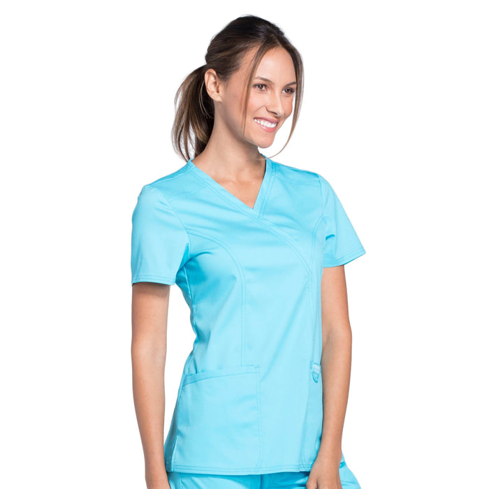 Cherokee Workwear Revolution WW610 Scrubs Top Women's Mock Wrap Turquoise 5XL