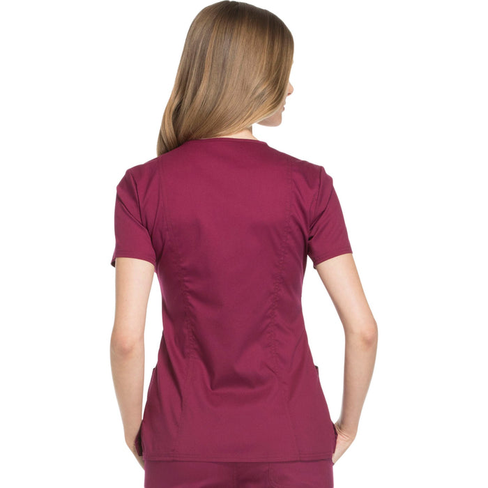 Cherokee Workwear Revolution WW610 Scrubs Top Women's Mock Wrap Wine 3XL