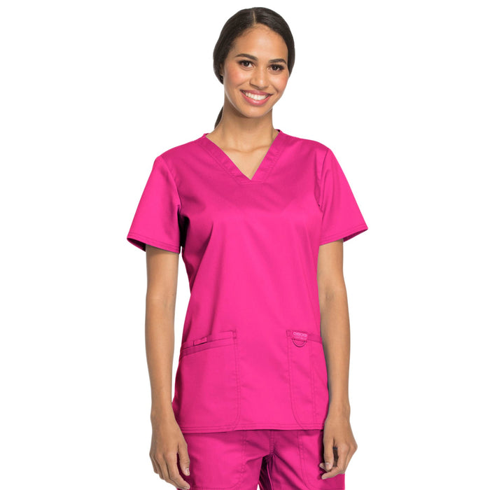Cherokee Workwear Revolution WW620 Scrubs Top Women's V-Neck Electric Pink