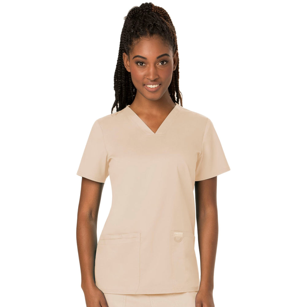 Cherokee Workwear Revolution WW620 Scrubs Top Women's V-Neck Khaki
