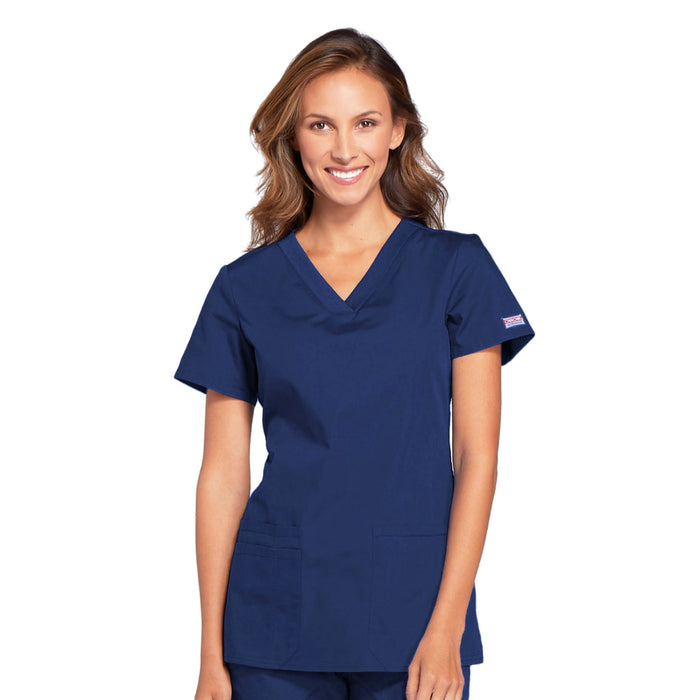 Cherokee Workwear WW645 Scrubs Top Women's V-Neck Navy