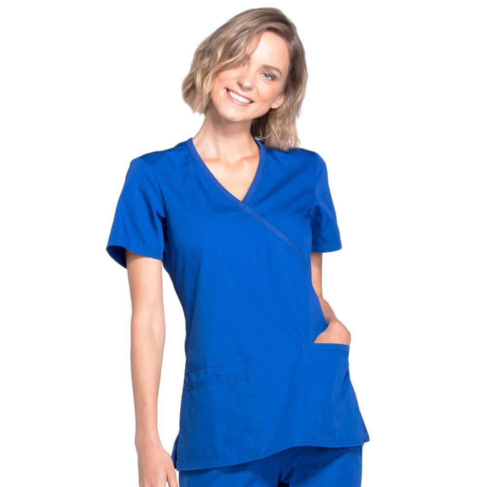 Cherokee Workwear WW650 Scrubs Top Women's Mock Wrap Galaxy Blue