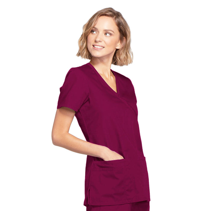 Cherokee Workwear WW650 Scrubs Top Women's Mock Wrap Wine 5XL