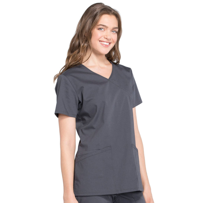 Cherokee Workwear Professionals WW655 Scrubs Top Women's Mock Wrap Pewter 5XL