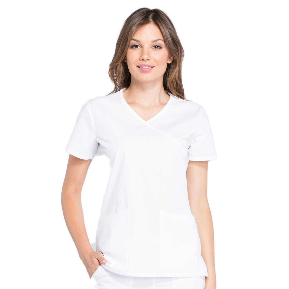 Cherokee Workwear Professionals WW655 Scrubs Top Women's Mock Wrap White