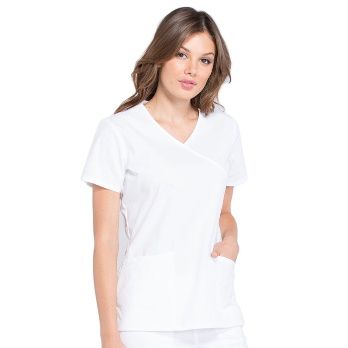 Cherokee Workwear Professionals WW655 Scrubs Top Women's Mock Wrap White 5XL