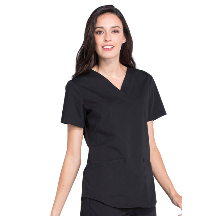 Cherokee Workwear Professionals WW665 Scrubs Top Women's V-Neck Black 5XL