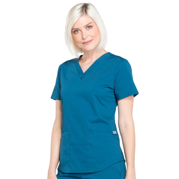 Cherokee Workwear Professionals WW665 Scrubs Top Women's V-Neck Caribbean Blue 4XL