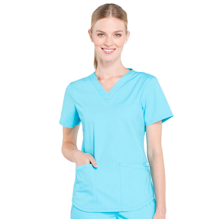 Cherokee Workwear Professionals WW665 Scrubs Top Women's V-Neck Turquoise
