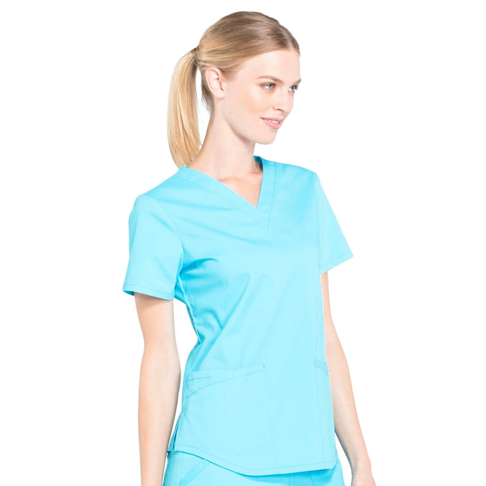 Cherokee Workwear Professionals WW665 Scrubs Top Women's V-Neck Turquoise 5XL