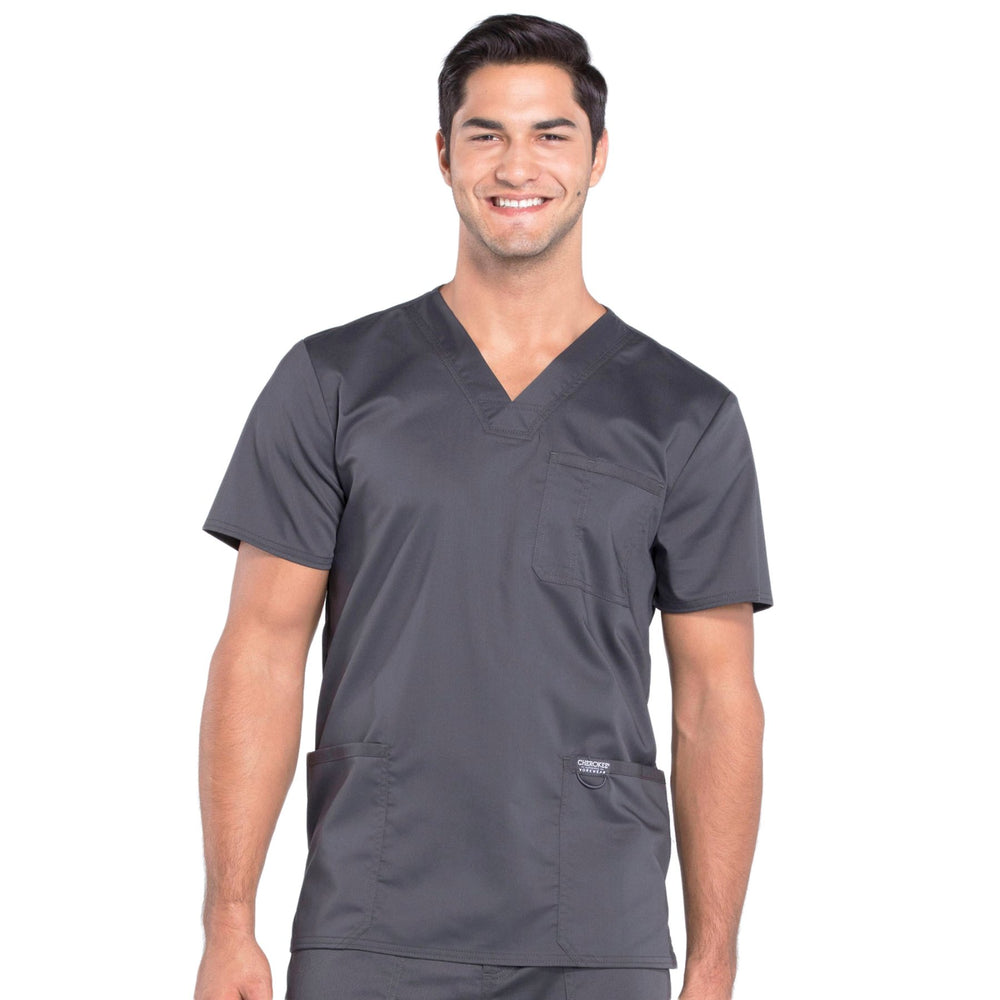 Cherokee Workwear Revolution WW670 Scrubs Top Men's V-Neck Pewter