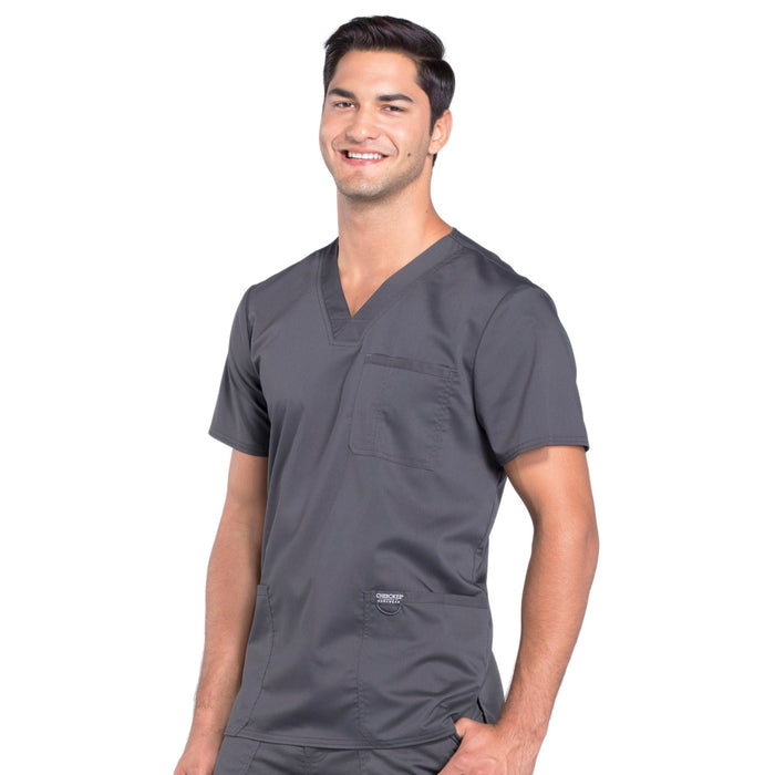 Cherokee Workwear Revolution WW670 Scrubs Top Men's V-Neck Pewter 4XL