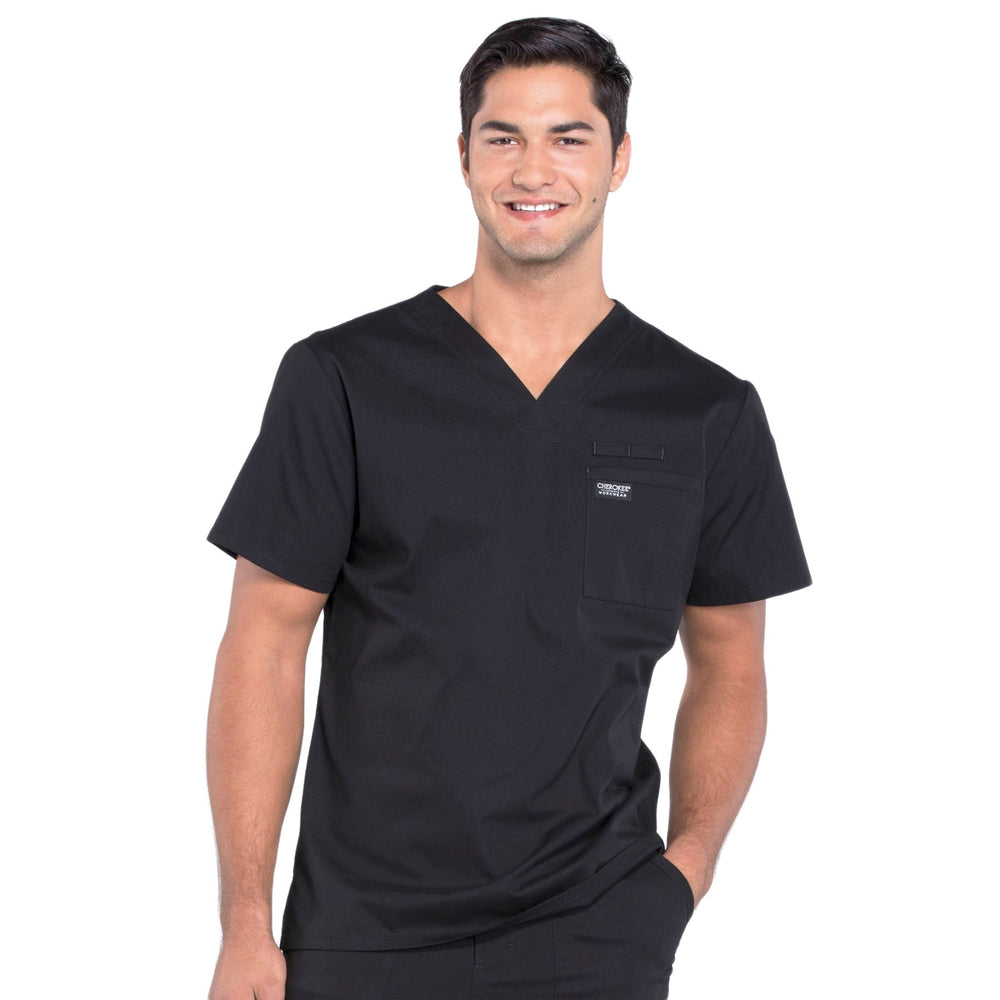 Cherokee Workwear Professionals WW675 Scrubs Top Men's V-Neck Black
