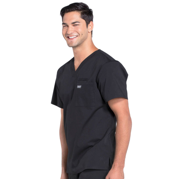 Cherokee Workwear Professionals WW675 Scrubs Top Men's V-Neck Black 4XL
