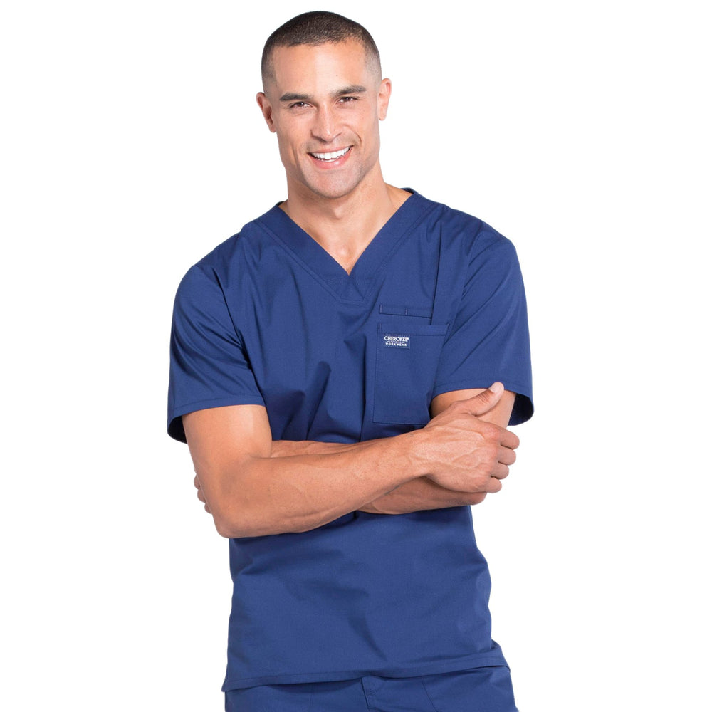 Cherokee Workwear Professionals WW675 Scrubs Top Men's V-Neck Navy