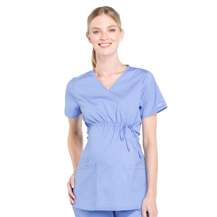Cherokee Workwear Professionals WW685 Scrubs Top Maternity Mock Wrap Ciel Blue