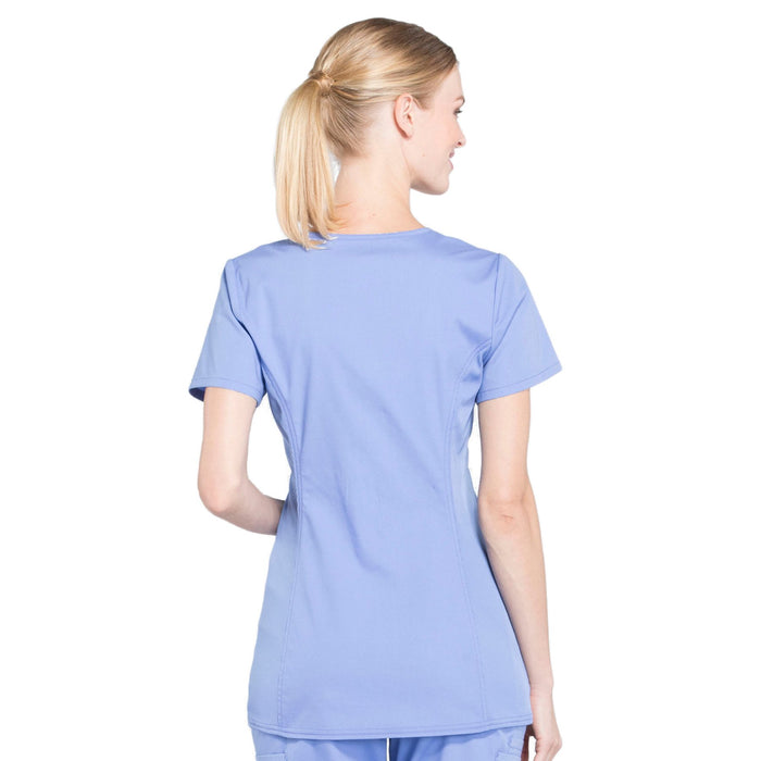 Cherokee Workwear Professionals WW685 Scrubs Top Maternity Mock Wrap Ciel Blue 3XL