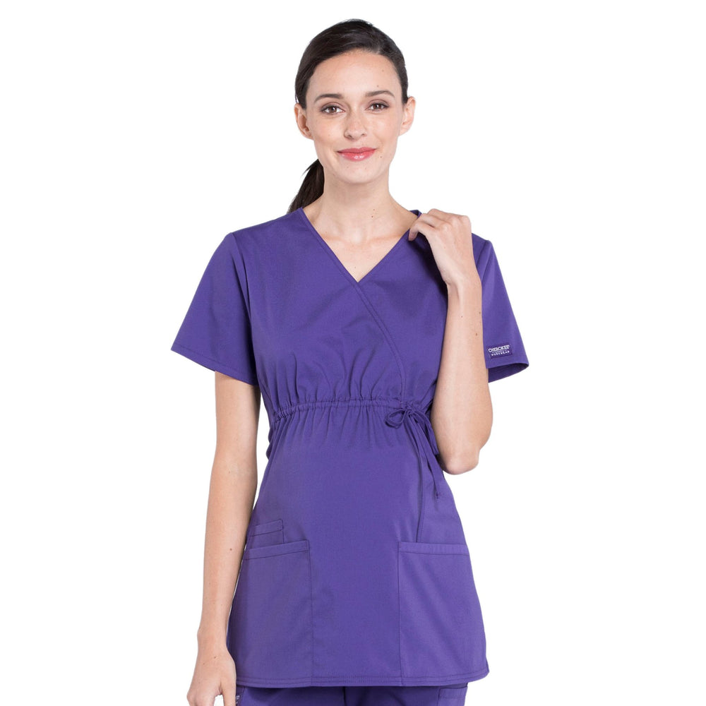 Cherokee Workwear Professionals WW685 Scrubs Top Maternity Mock Wrap Grape