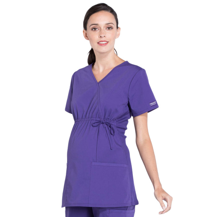Cherokee Workwear Professionals WW685 Scrubs Top Maternity Mock Wrap Grape L