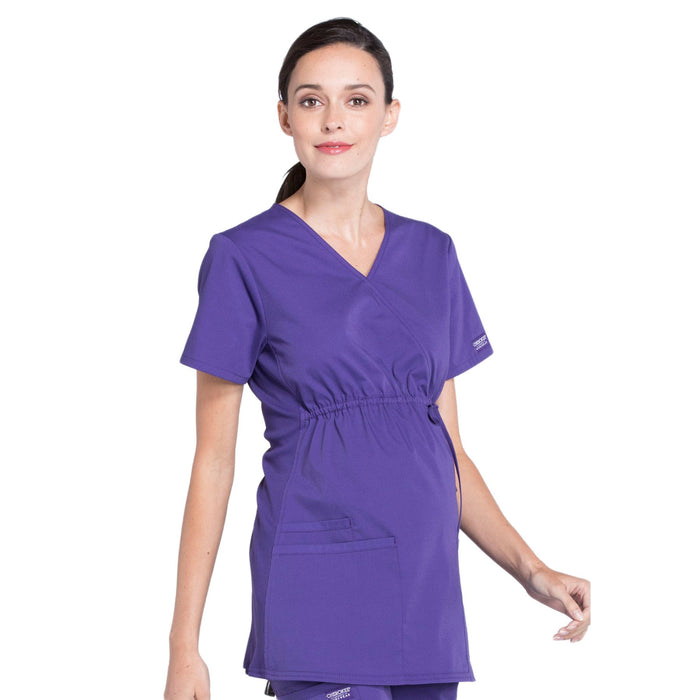 Cherokee Workwear Professionals WW685 Scrubs Top Maternity Mock Wrap Grape M