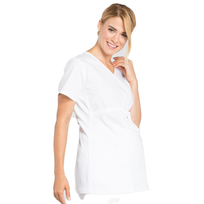 Cherokee Workwear Professionals WW685 Scrubs Top Maternity Mock Wrap White M