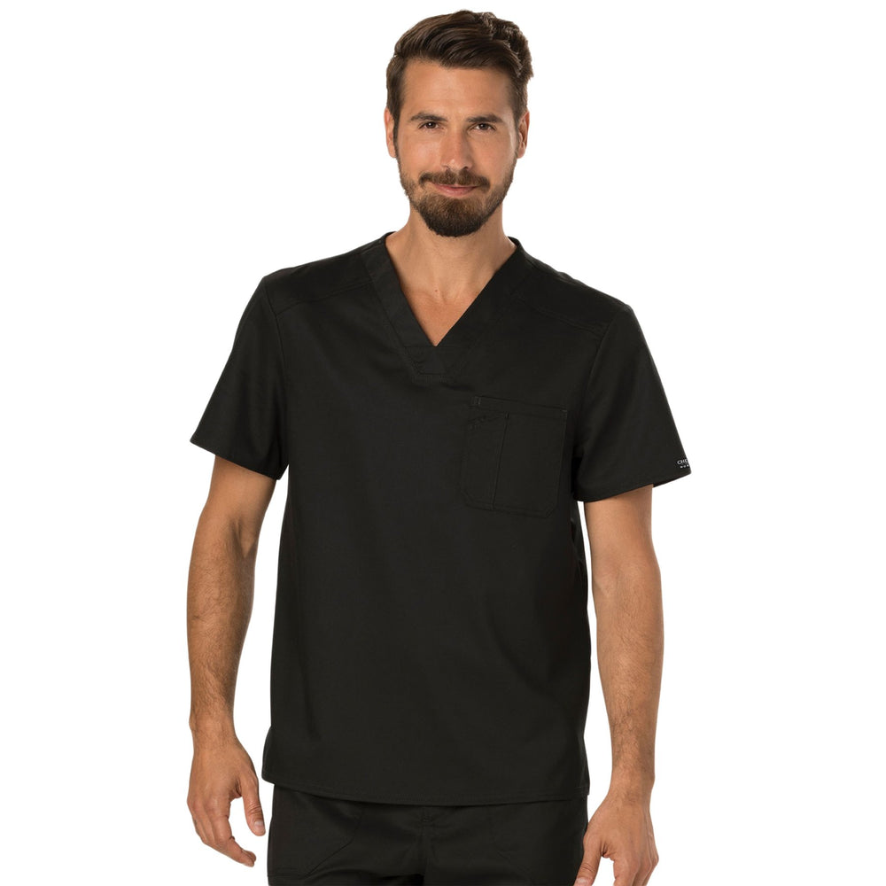 Cherokee Workwear Revolution WW690 Scrubs Top Men's V-Neck Black