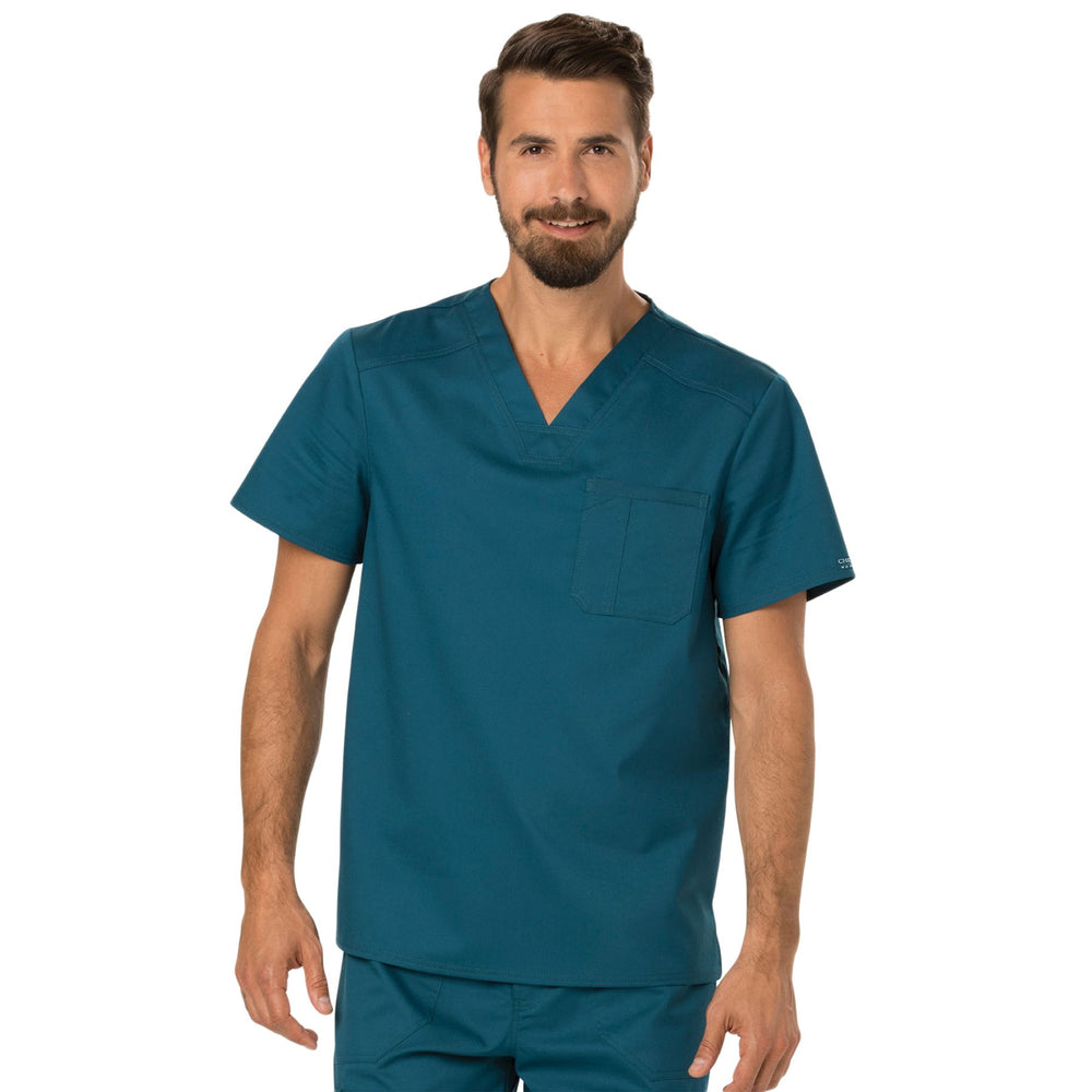 Cherokee Workwear Revolution WW690 Scrubs Top Men's V-Neck Caribbean Blue