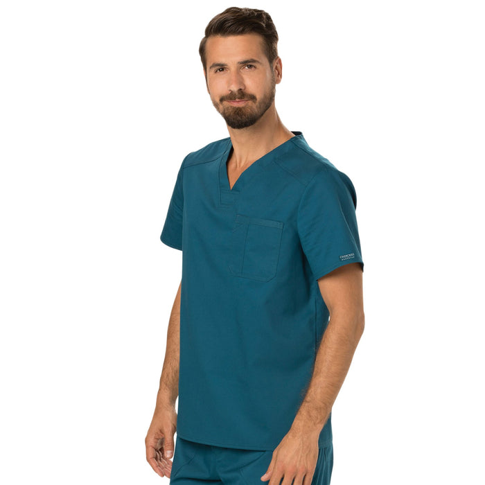 Cherokee Workwear Revolution WW690 Scrubs Top Men's V-Neck Caribbean Blue 4XL