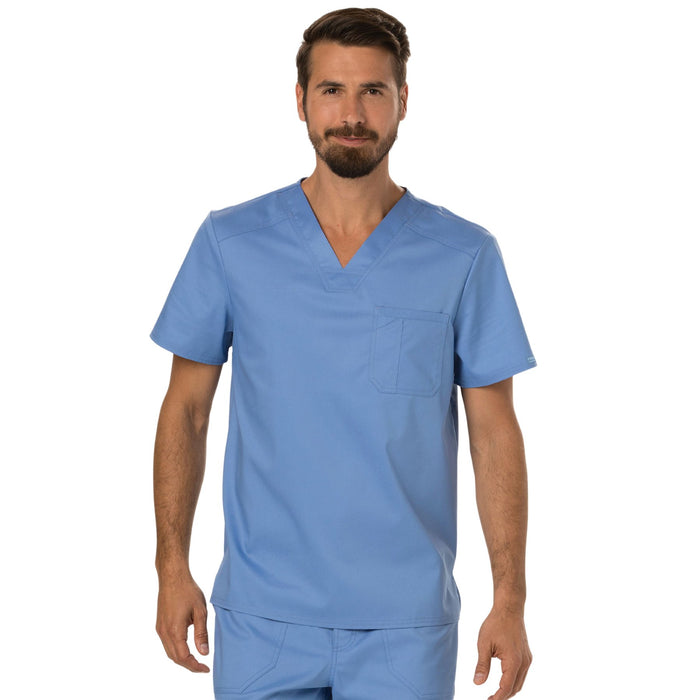 Cherokee Workwear Revolution WW690 Scrubs Top Men's V-Neck Ciel Blue