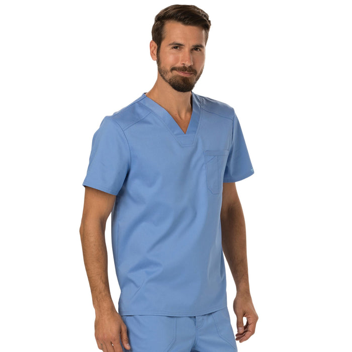 Cherokee Workwear Revolution WW690 Scrubs Top Men's V-Neck Ciel Blue 4XL