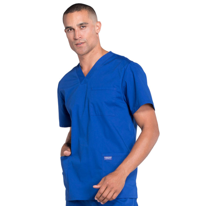 Cherokee Workwear Professionals WW695 Scrubs Top Men's V-Neck Galaxy Blue 4XL