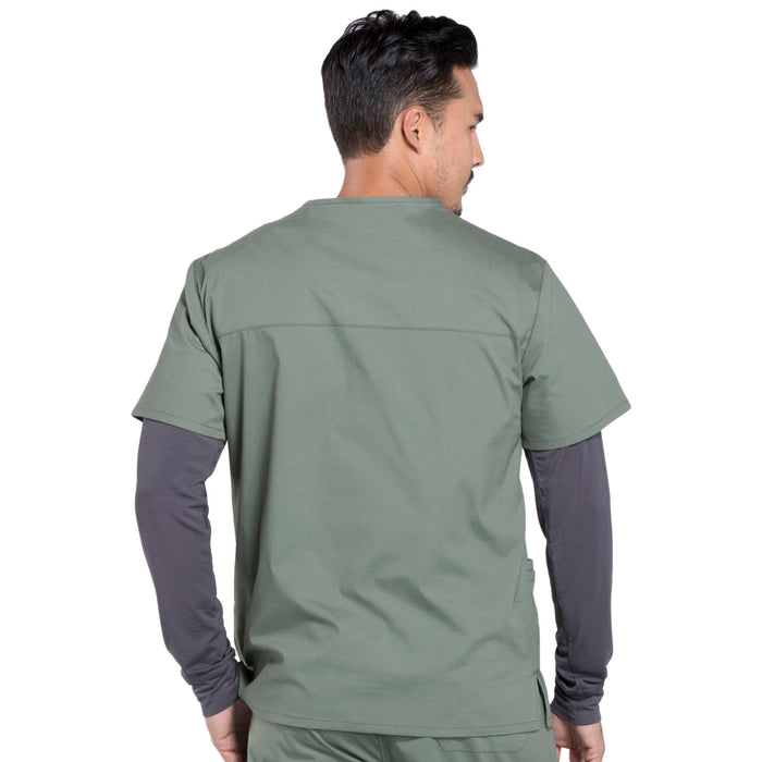 Cherokee Workwear Professionals WW695 Scrubs Top Men's V-Neck Olive 3XL