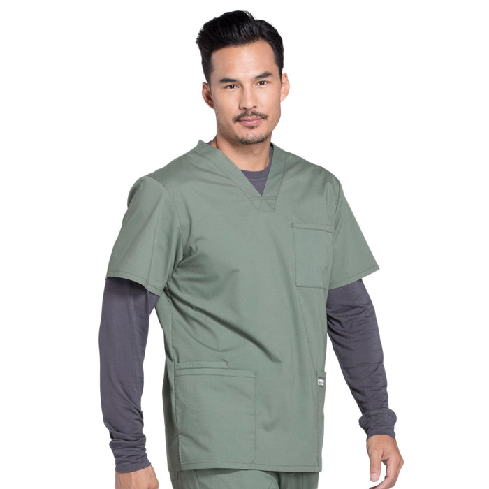 Cherokee Workwear Professionals WW695 Scrubs Top Men's V-Neck Olive 5XL