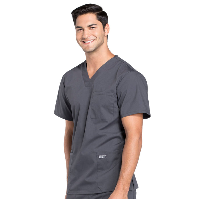 Cherokee Workwear Professionals WW695 Scrubs Top Men's V-Neck Pewter 4XL