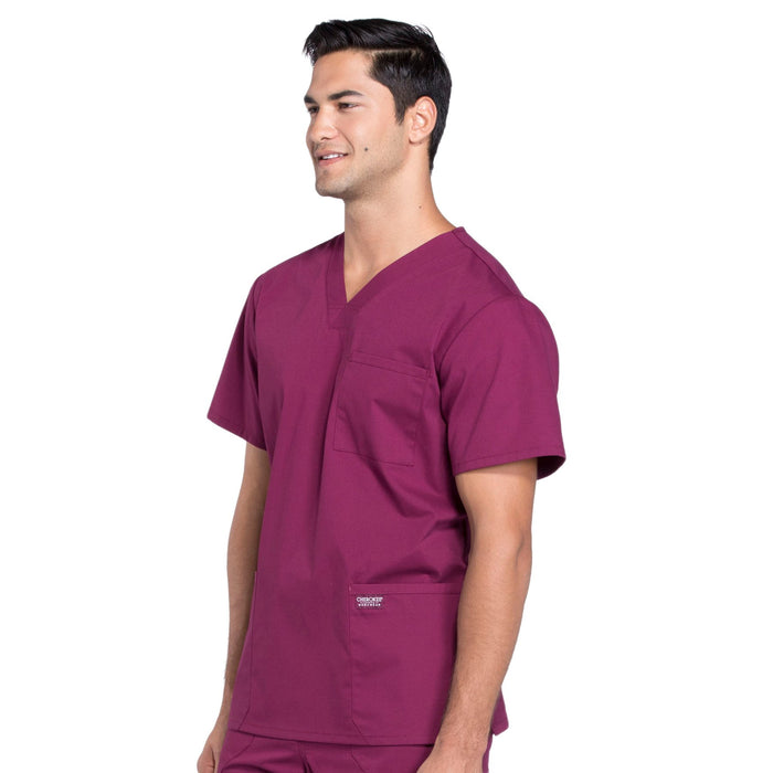 Cherokee Workwear Professionals WW695 Scrubs Top Men's V-Neck Wine 4XL
