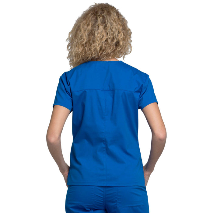 Cherokee Workwear Professionals WW705 Scrubs Top Women's Mock Wrap Royal 3XL