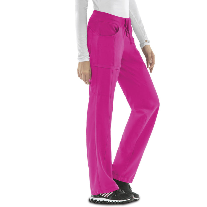Cherokee Infinity 1123A Scrubs Pants Women's Low Rise Straight Leg Drawstring Carmine Pink
