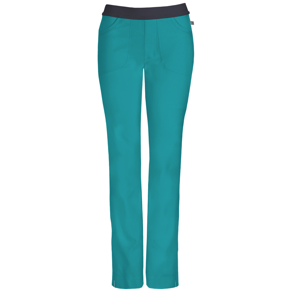 Cherokee Infinity 1124A Scrubs Pants Women's Low Rise Slim Pull-On Teal Blue