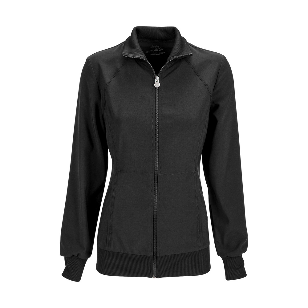 Cherokee Infinity 2391A Scrubs Jacket Women's Zip Front Warm-Up Black
