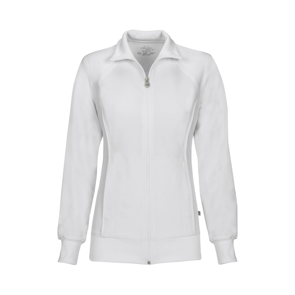 Cherokee Infinity 2391A Scrubs Jacket Women's Zip Front Warm-Up White