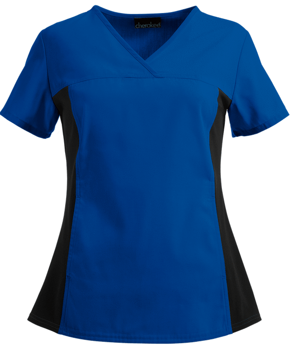 Cherokee Scrubs Top 2XL Cherokee Flexibles 2874 Scrubs Top Women's V-Neck Knit Panel Galaxy Blue