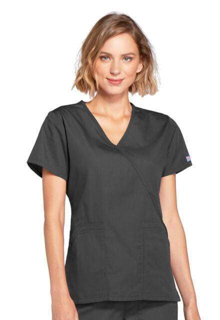 Medshop Australia Cherokee Scrubs Workwear Mock Wrap Top 4741 Pewter Large