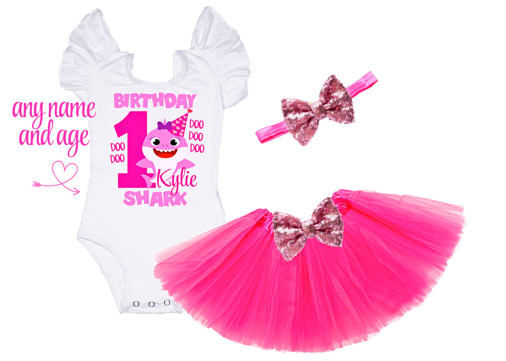 Girls Baby Shark Birthday Outfit
