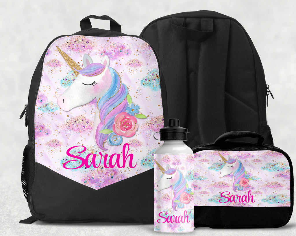 Unicorn Monogram Backpack Personalized Lunchbox School Supplies