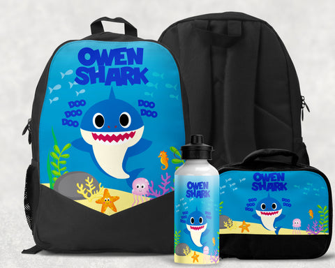 Boys Personalized Baby Shark Backpack Monogrammed Bookbag Shark Lunchbox