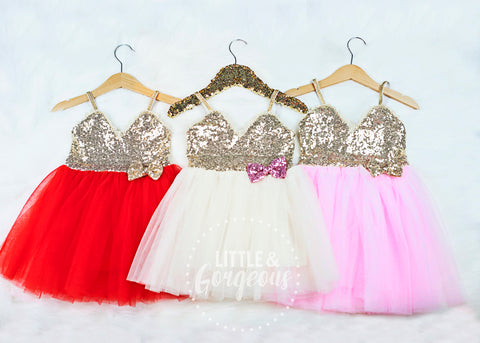 Girls Gold Sequin and Tulle Dress