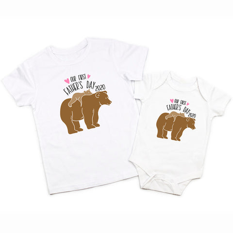 My First Fathers Day Daddy Baby Boy Bear Matching Shirt Bodysuit