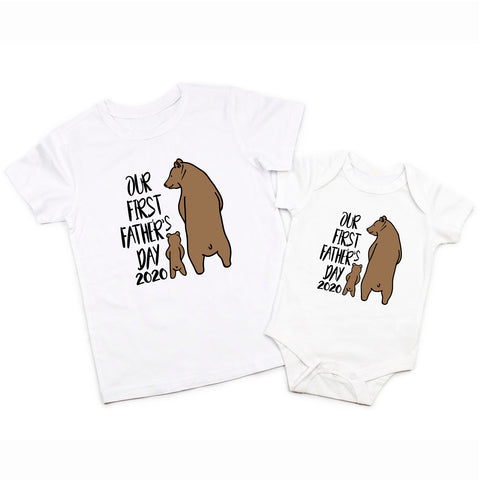 Daddy and Me Our First Fathers Day Daddy Baby Bear Matching Shirt Bodysuit