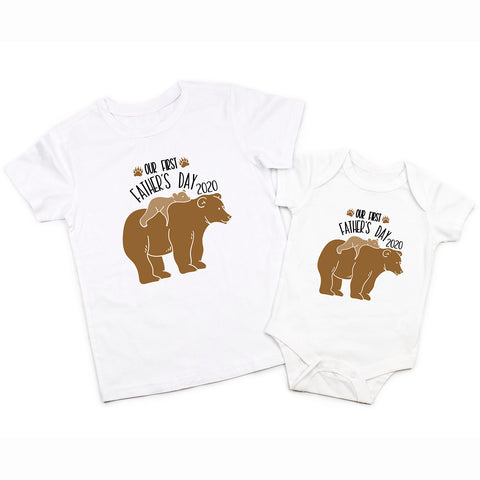 Our First Fathers Day Daddy Baby Bear Matching Shirt Bodysuit 1st Fathers Day