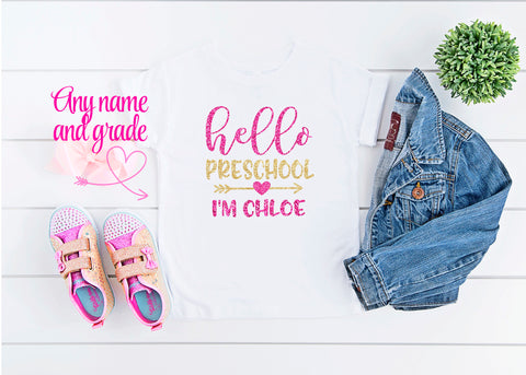 Girls First Day of Preschool Shirt Personalized Hello Preschool Tshirt
